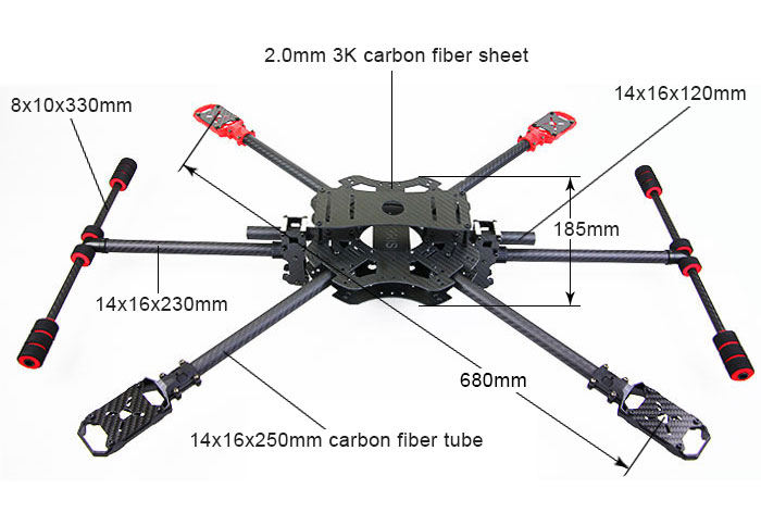 ARRIS M680-4S Carbon Fiber Foldable Quadcopter Frame|MH-ARRIS-M680F ...