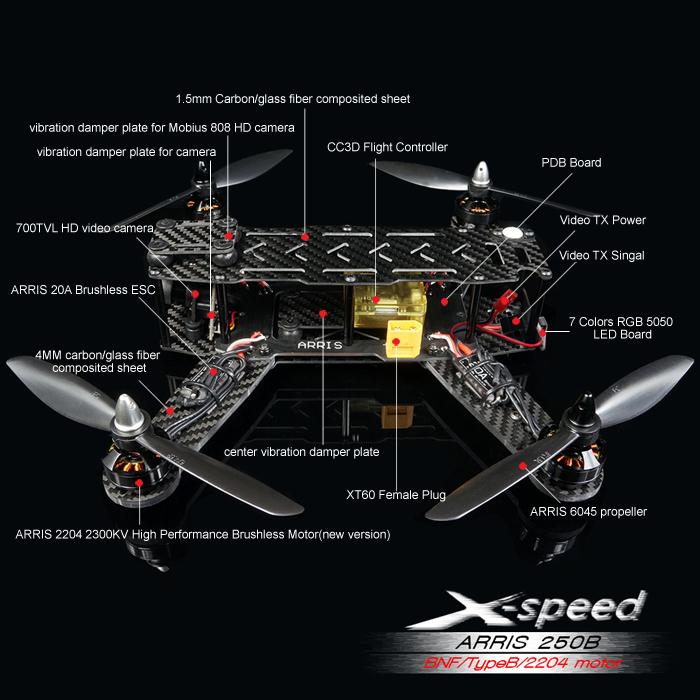 ARRIS X-Sd FPV250B FPV Racing Drone BNF Type B/2204 on