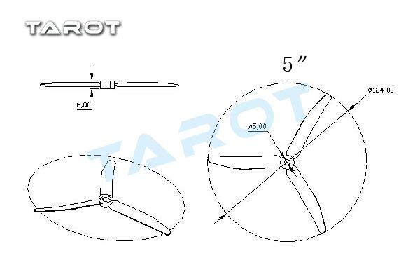 Tarot 5 5 Inch 3 Leaf Propeller For 250 Quadcopter Black